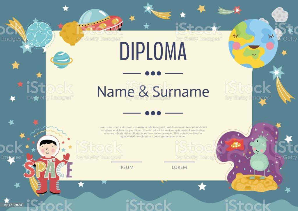 diploma cartoon vector template ufoのベクターアート素材や画像を