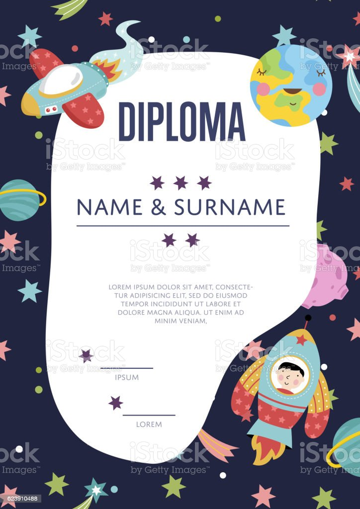 diploma cartoon vector template stock vector art more images of
