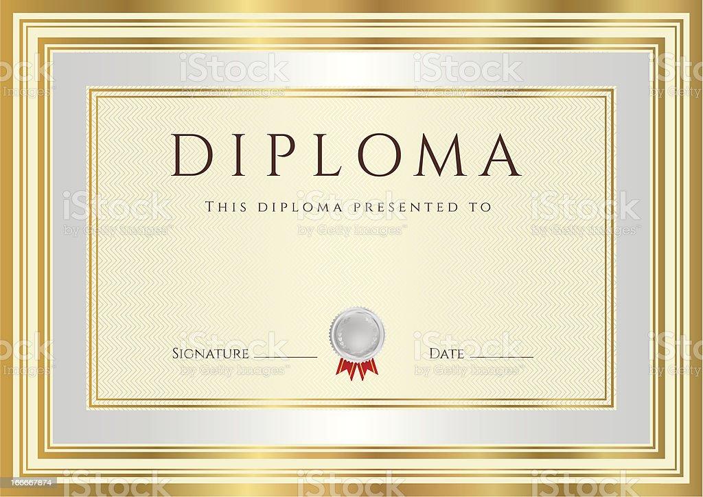 Ilustración de Diploma O Certificado El Diseño De Fondo Con Marco De ...