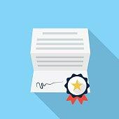 Diploma, certificate, award icon