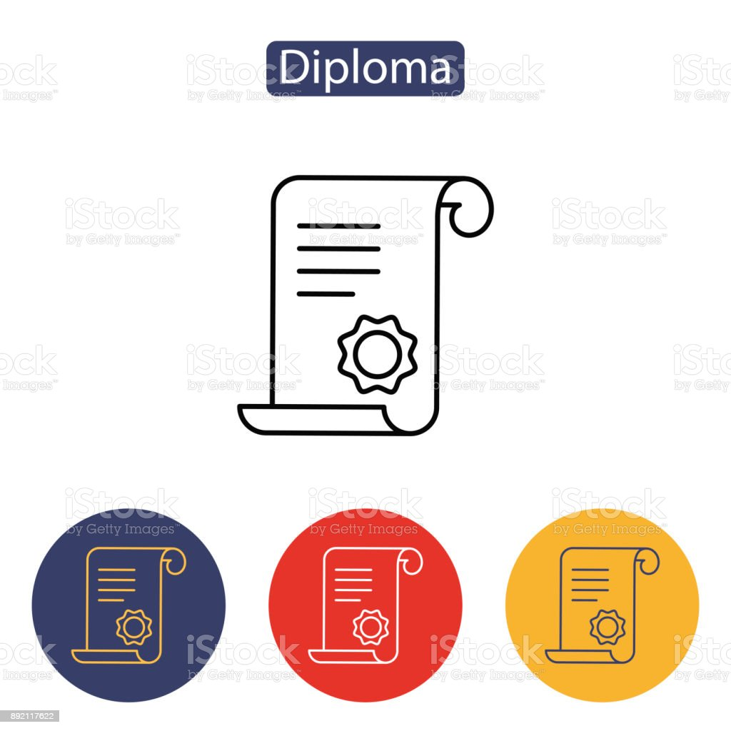 Diploma, certificate, award icon. vector art illustration