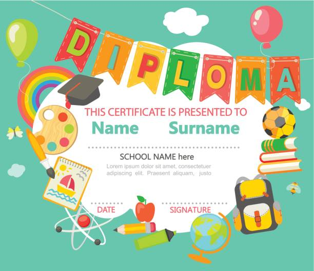 diploma certificate background. - primary school stock illustrations, clip art, cartoons, & icons