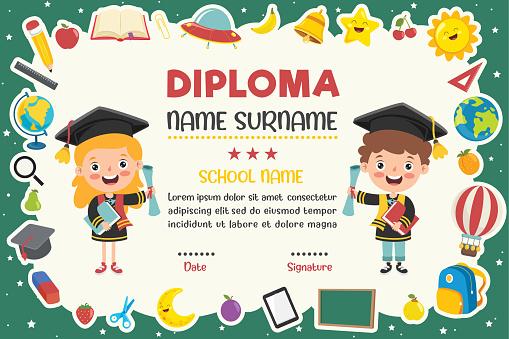Diploma Certificate For Preschool And Elementary School Kids