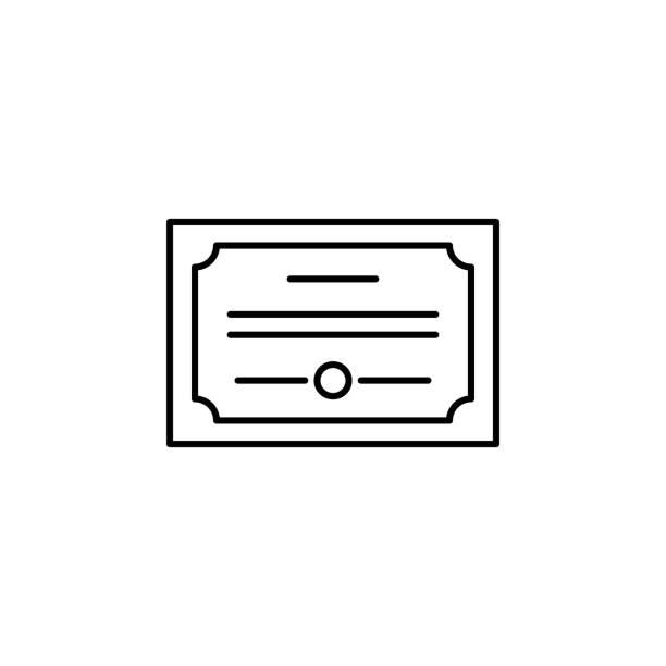 stockillustraties, clipart, cartoons en iconen met diploma, certificaat icoon. element van onderwijs illustratie. de tekens en de symbolen kunnen voor web, embleem, mobiele app, ui, ux worden gebruikt - aandelen