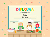 Diploma, certificate, rewarding of participants in childrens cooking courses, contests, master classes. Vector illustration concept. Memorable letter for an interesting pastime for kids holidays.