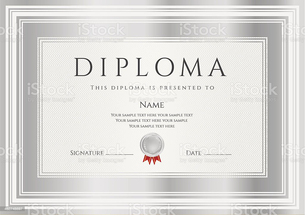 Diploma certificate template award background design with silver diploma certificate template award background design with silver frames royalty free stock vector yelopaper Choice Image