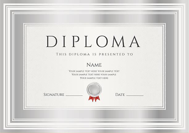 ilustraciones, imágenes clip art, dibujos animados e iconos de stock de diploma o certificado plantilla.  el diseño de fondo con los bastidores de plata - marcos de certificados y premios