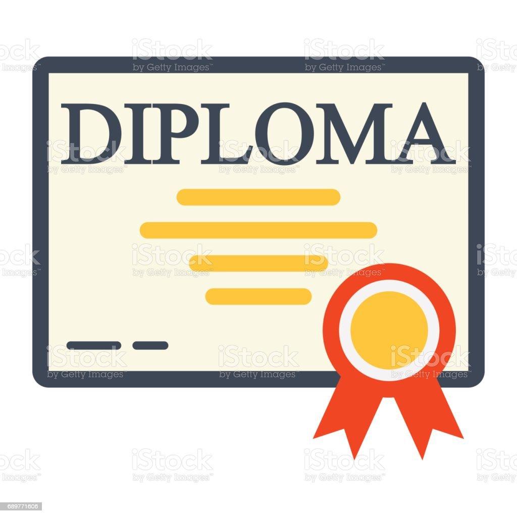diploma flat icon education and certificate graduation vector rh istockphoto com vector certificate template vector certificate borders