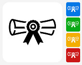 Diploma Icon. This 100% royalty free vector illustration features the main icon pictured in black inside a white square. The alternative color options in blue, green, yellow and red are on the right of the icon and are arranged in a vertical column.