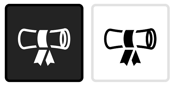 Diploma  Icon on  Black Button with White Rollover. This vector icon has two  variations. The first one on the left is dark gray with a black border and the second button on the right is white with a light gray border. The buttons are identical in size and will work perfectly as a roll-over combination.