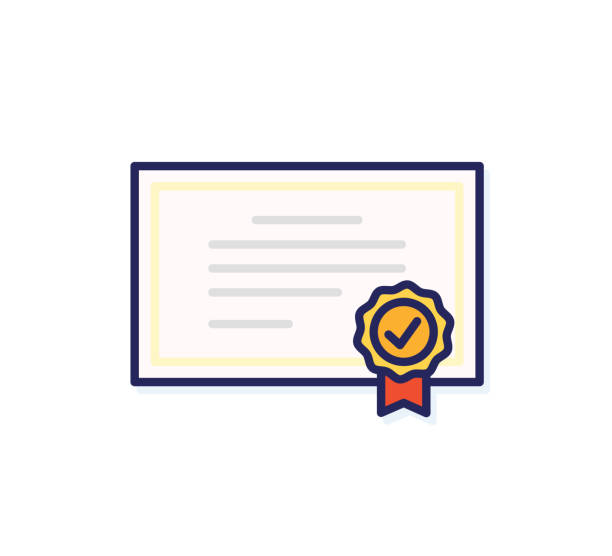 Diploma icon. Vector quality certificate with seal. Flat filled outline illustration design Vector eps10 qualification round stock illustrations
