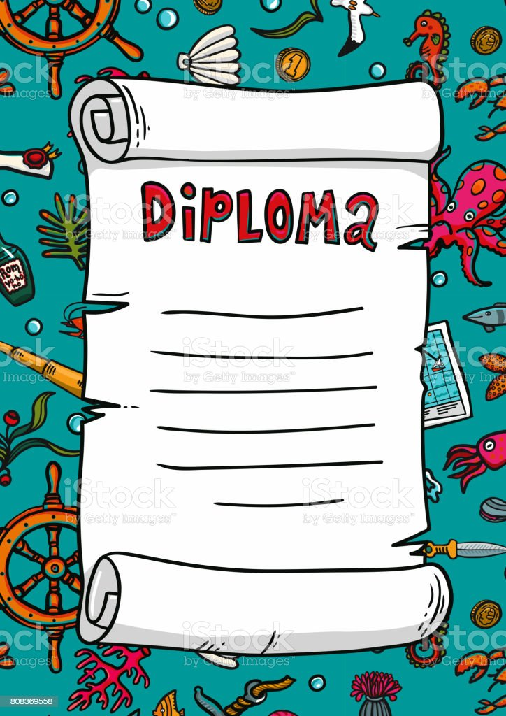 diploma in sea style template scroll on a handdrawn pattern marine  diploma in sea style template scroll on a hand drawn pattern marine