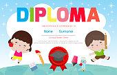 Diploma kids Certificates kindergarten and elementary, Preschool Kids Diploma certificate background design template for kindergarten students, Certificate of children diploma, vector illustration