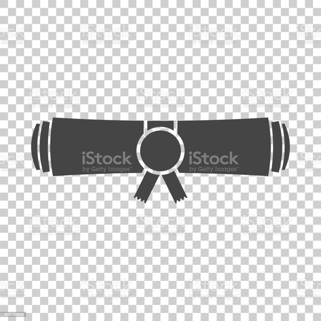 Diploma rolled scroll flat design icon. Finish education symbol. Graduation day celebration element. Graduate scroll vector illustration on isolated background. vector art illustration