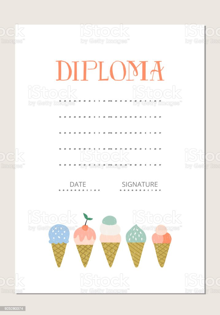 Diploma Template Cute Baby Certificate Stock Vector Art More
