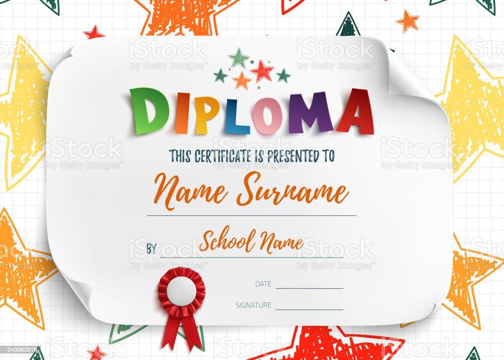 Diploma template for kids. vector art illustration