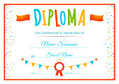Design childrens diploma. Template for school or kindergarten. Kids certificate. Vector illustration