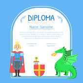 Diploma Template for Kids with Prince and Dragon, Preschool, Kindergarten Children Certificate with Vector Illustration