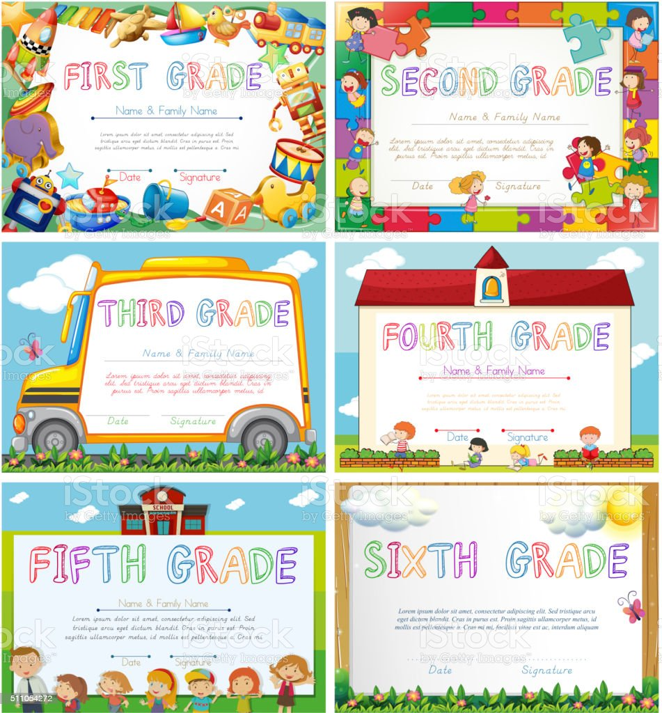 Diploma templates for primary school vector art illustration