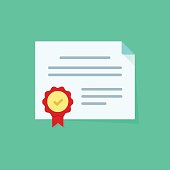 Diploma vector icon isolated, certificate symbol, coupon flat