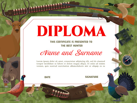 Diploma with wild animals and hunting ammo, weapon