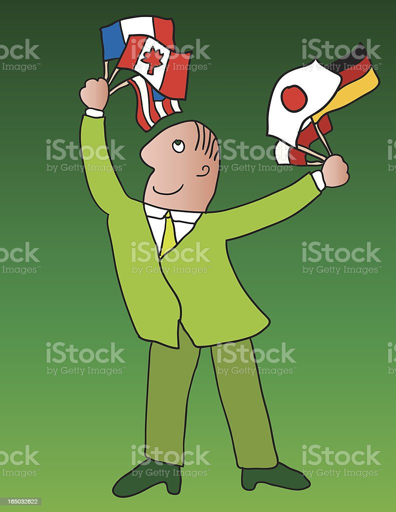 Diplomat waving international flags royalty-free stock vector art