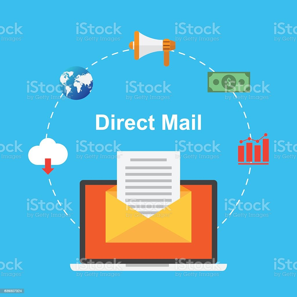 direct mail marketing content business design concept vector