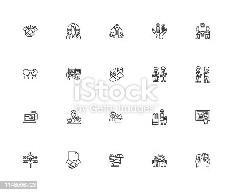 Direct selling line icons, linear signs, vector set, outline concept illustration