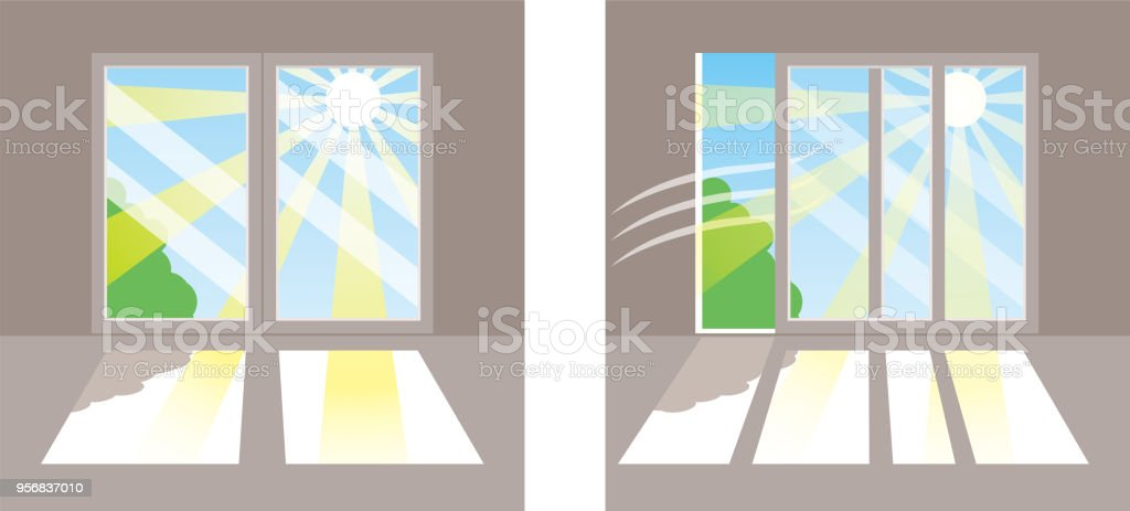 Direct sunlight in the window vector art illustration