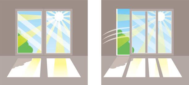 Direct sunlight in the window vector art illustration