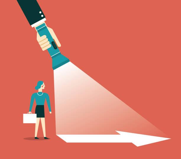 illustrazioni stock, clip art, cartoni animati e icone di tendenza di direction - businesswoman - guida turistica professione