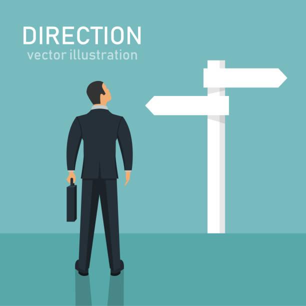 Direction choosing flat vector design illustration, dilemma Beautiful flat vector design illustration of choosing direction directional sign stock illustrations