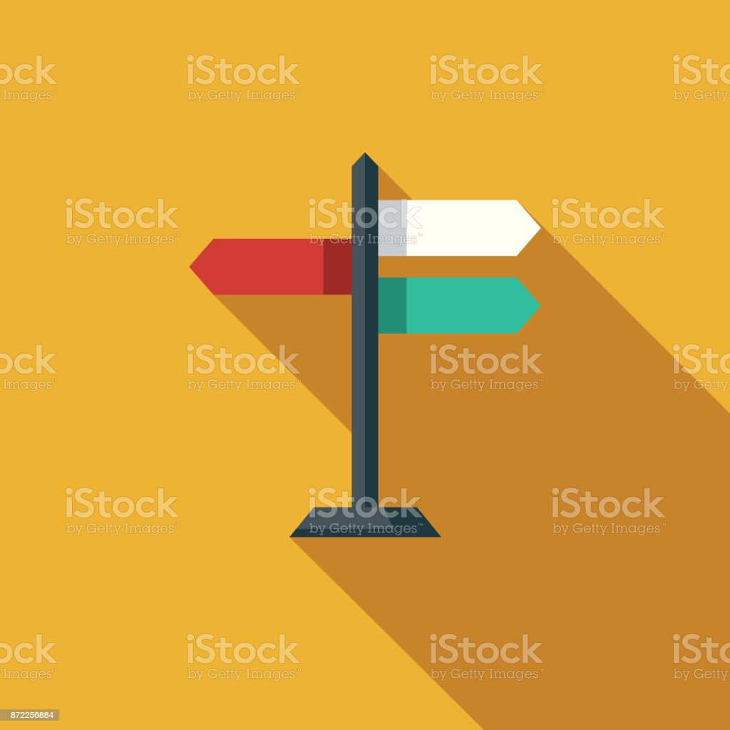 Direction Flat Design Business Icon with Side Shadow vector art illustration