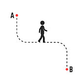 direction or unique way from a to b. concept of simplify pathway or target or position for tourist. flat style trend modern graphic design illustration isolated on white background