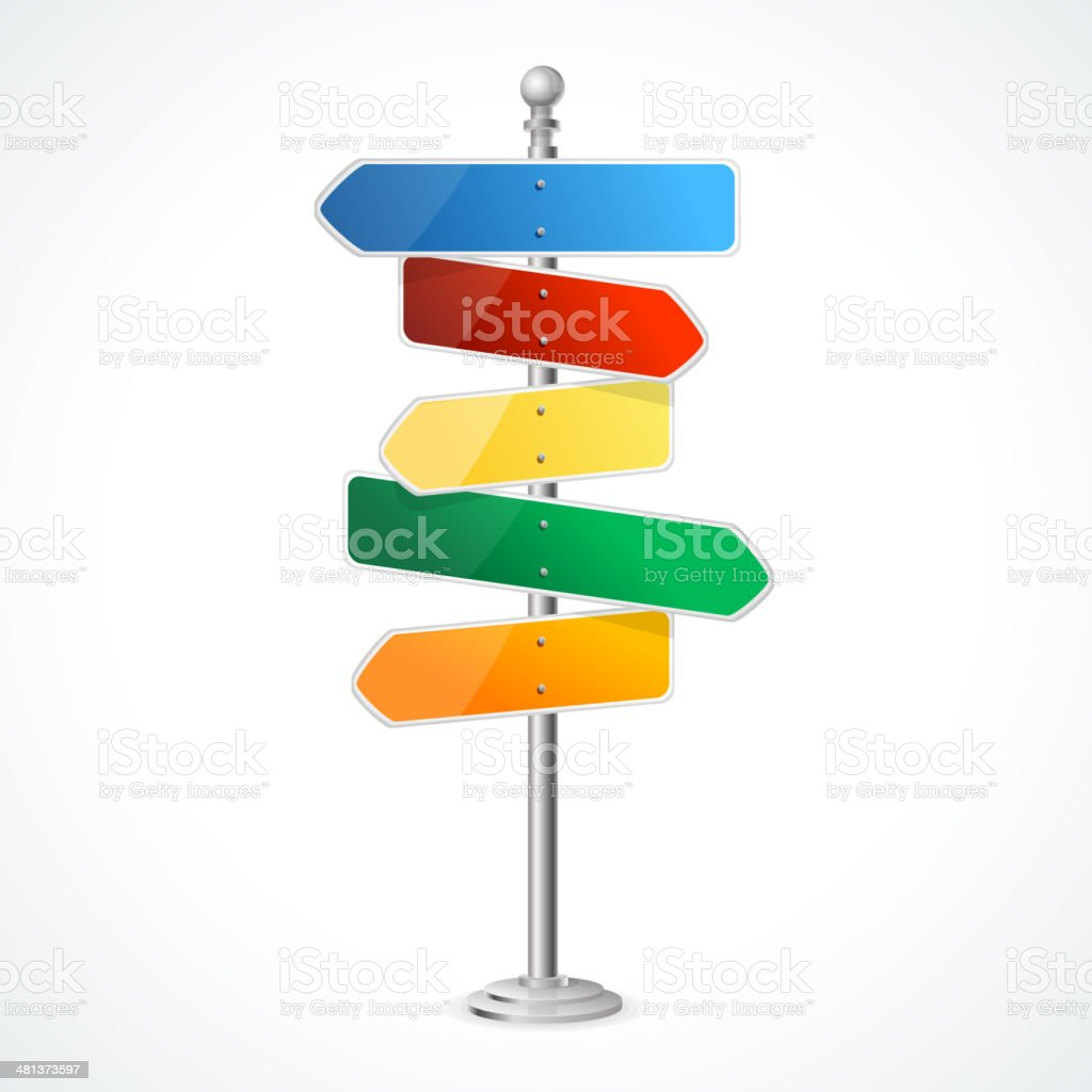 Direction road signs vector art illustration
