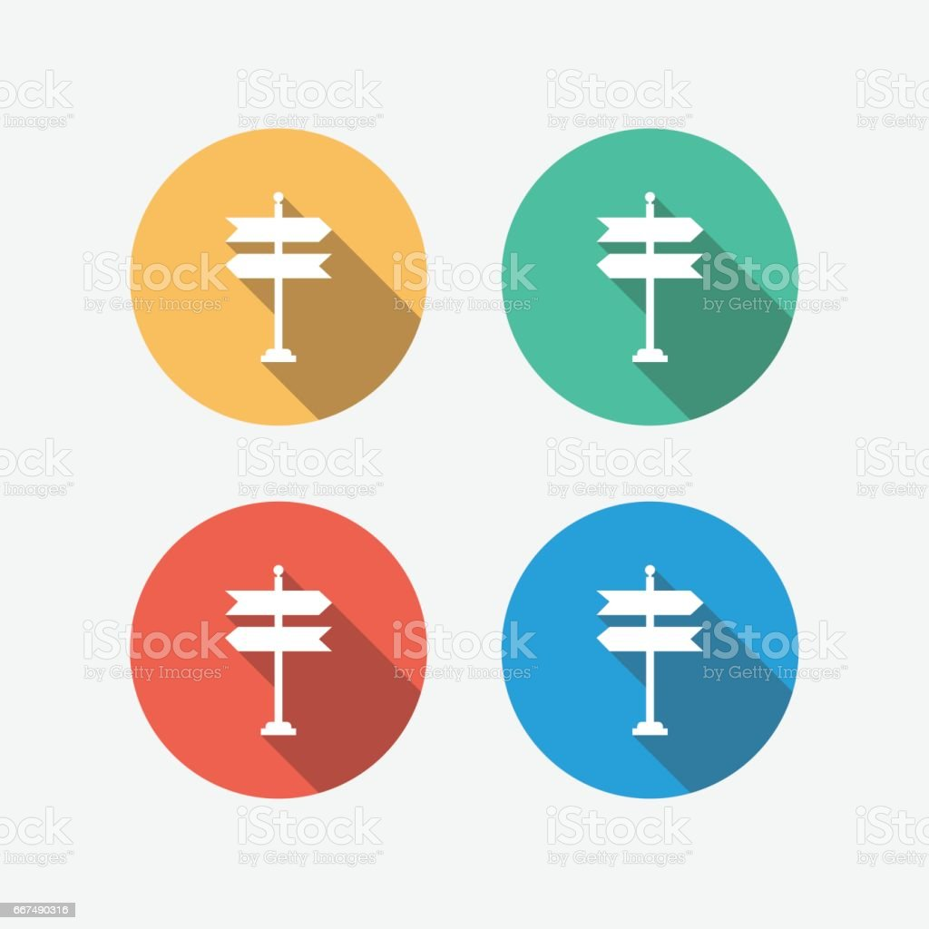 方向記号色とりどりサークル フラット アイコン ベクターアートイラスト