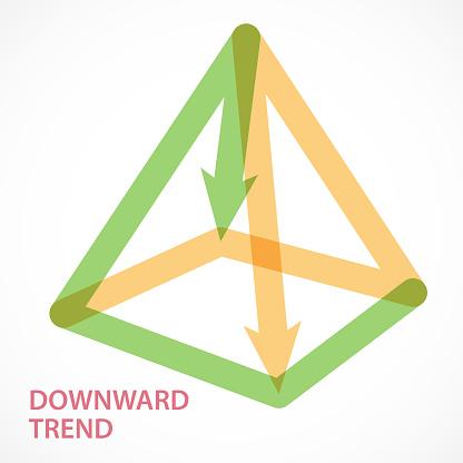 Directional Arrow Form A Four Angle Pyramid