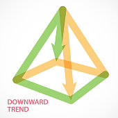 Directional arrows form a four angle pyramid.