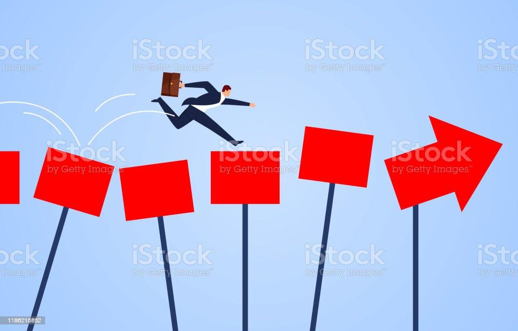 Richtungsleitkonzept, Geschäftsmann läuft entlang des Pfeils der Führung - Lizenzfrei Anfang Vektorgrafik