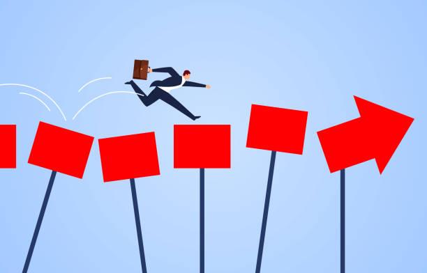 Richtungsleitkonzept, Geschäftsmann läuft entlang des Pfeils der Führung – Vektorgrafik