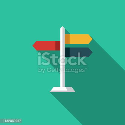 A flat design icon with a long shadow. File is built in the CMYK color space for optimal printing. Color swatches are global so it's easy to change colors across the document.