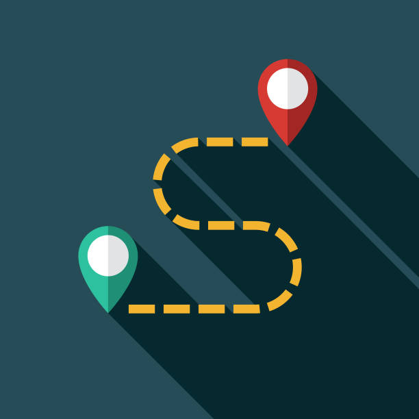 directions map icon - start stock illustrations