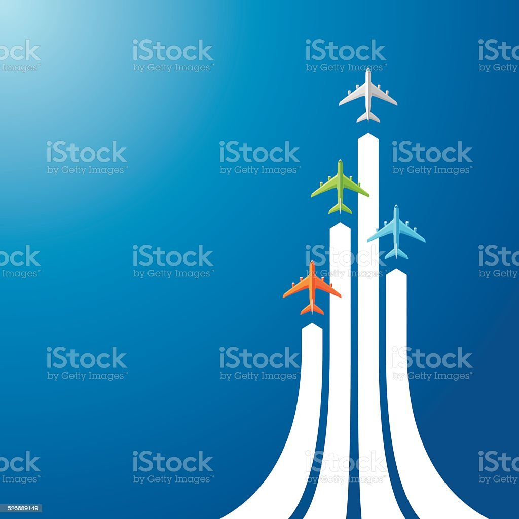 Directly above four airliner vector art illustration