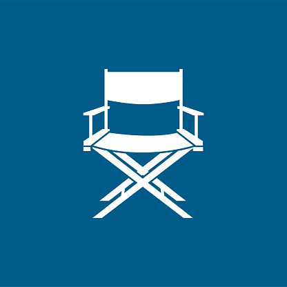 Director Chair Icon On Blue Background. Blue Flat Style Vector Illustration