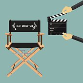Director chair in flat design with movie clapperboard. Vector.
