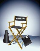 Director Chair Movie Slate Megaphone Illustration Clip Art