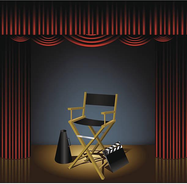 stockillustraties, clipart, cartoons en iconen met director chair on stage - photography curtains