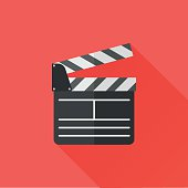 Director clapperboard flat icon. Movie clapper board vector Illustration.