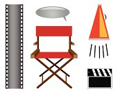 Film, cinema or director elements vector set