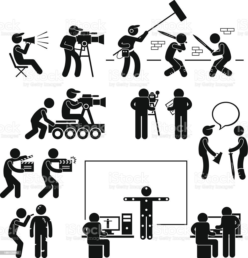 Director Making Filming Movie Production Actor Pictogram vector art illustration